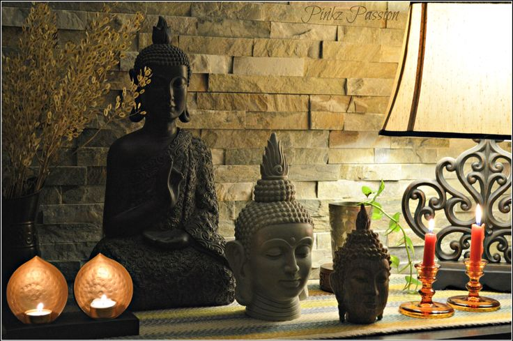 Buddha, Buddha decor, indian home decor, Indian inspired decor, console table decor, Buddha heads, peaceful setting, calm Setting, Indian decor