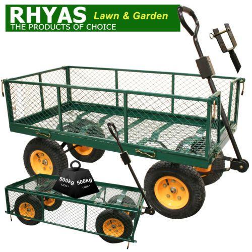 Rhyas-Heavy-Duty-Garden-Trolley-Cart-4-Wheel-barrow-Quad-Trailer-Large-500kg