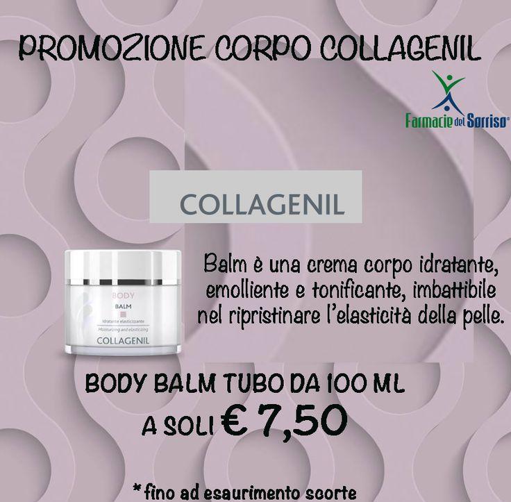 Promozione corpo Collagenil #farmaciedelsorriso Ricca di ingredienti delicatissimi, Body Balm di Collagenil è una crema adatta a tutti i tipi di pelle, di tutte le età. È un ottimo trattamento cosmetico nutriente ,idratante e utile anche per le smagliature. TUBO DA 100 ML A SOLI € 7,50!!!