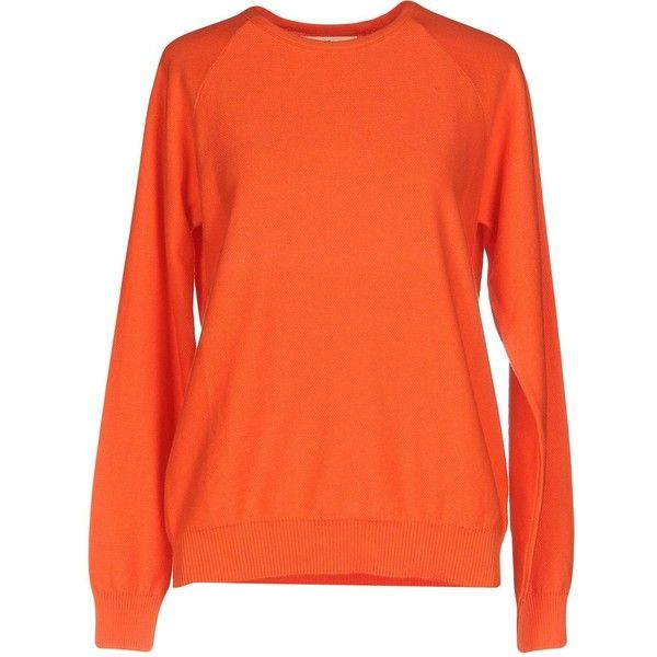 M.v. Maglieria Veneta Jumper (€67) ❤ liked on Polyvore featuring tops, sweaters, orange, cotton sweaters, orange sweater, orange top, orange jumper and extra long sleeve sweater