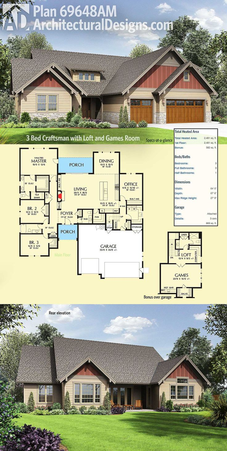 Architectural Designs 3 Bed Craftsman with Loft and Games Room House Plan 69648AM. A mix of clapboard, board and batten, shingles and stone dress up this 3 bed Craftsman house plan. Ready when you are. Where do YOU want to build?