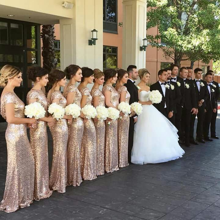 Gorgeous gold for bridesmaids and black for men
