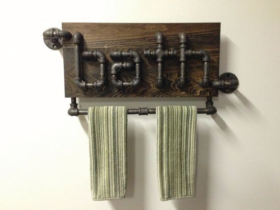 Industrial Black Iron Pipe Bathroom Towel Holder por Mobeedesigns