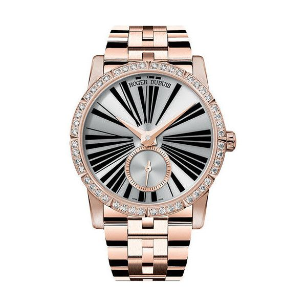 Roger Dubuis Excalibur Automatic Ladies 18kt Rose Gold Watch ($33,580) ❤ liked on Polyvore featuring jewelry, watches, skeleton wrist watch, rose gold tone watches, rose gold tone jewelry, skeleton watches and see through watches