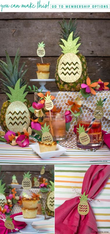 #PineappleDecor #TropicalParty You can make this! Pattern at www.LiaGriffith.com
