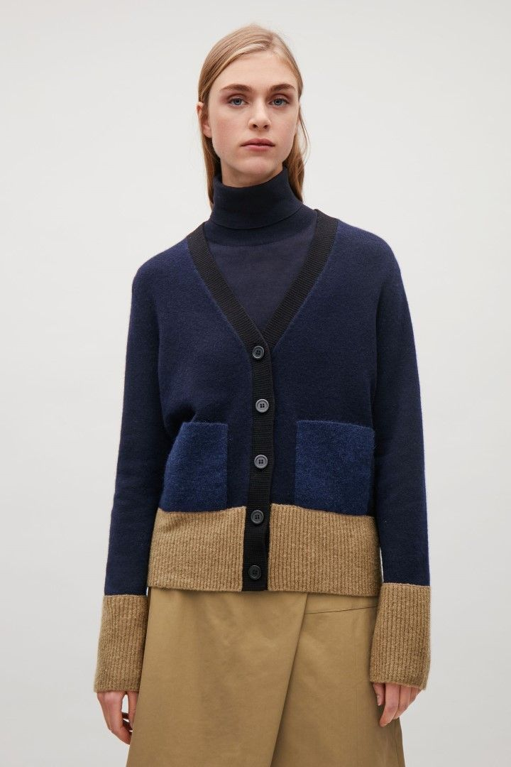4137025c4b64 COS image 1 of Colour-block cardigan with mohair pockets in Navy ...
