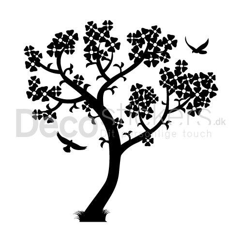 Denne wallsticker præger din bolig med harmoni og godt humør, med de flyvende fugle iblandt det smukke træ.
