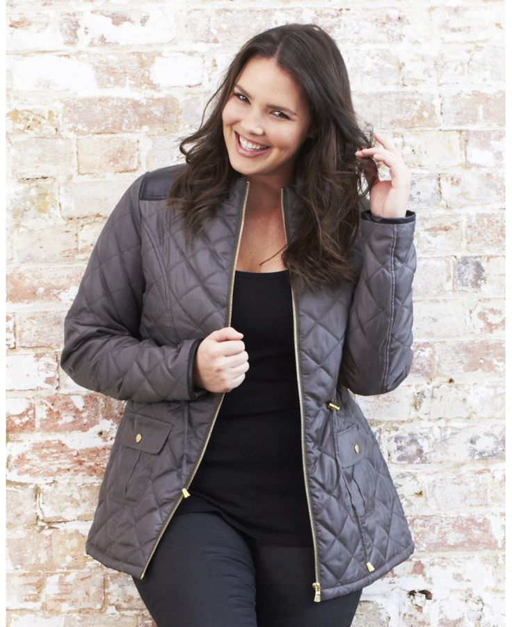 Larry Levine Plus Size Hooded Faux-Fur-Trim Quilted Puffer | 12 ... : quilted jacket plus size - Adamdwight.com