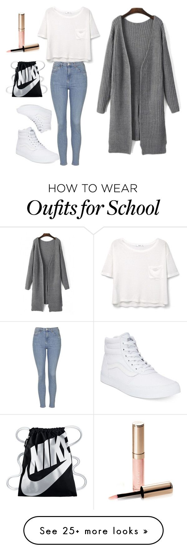 """""""Normal School Day"""" by amyahkelly on Polyvore featuring MANGO, Topshop, Vans, NIKE and By Terry"""