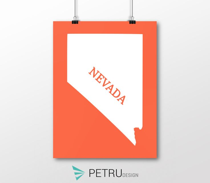 Nevada print - Nevada art - Nevada poster - Nevada wall art - Nevada printable poster - Nevada map - Nevada Sunset art - Instant download by Exit8Creatives on Etsy