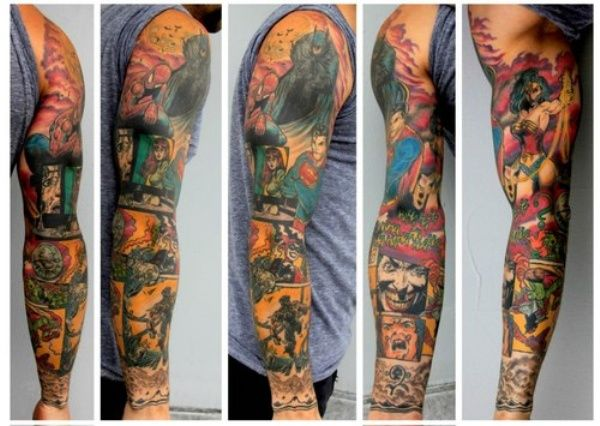 DC Comics tattoo sleeve featuring Batman, Wonder Woman, and Superman, among others. Done by Jamie Macpherson from Digital Demigods