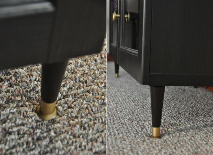 Elegant Ikea Besta Regal Aufbewahrungssystem Schwarz Fuesse Schrankgriffe Gold