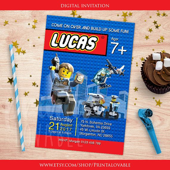 Digital Lego City invitation, Lego thank you tag, Lego police, Lego birthday, Lego printables, Lego CIty birthday party