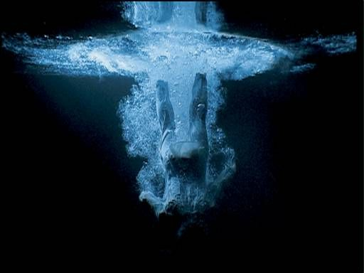 Bill Viola ~ 'Five Angels for the Millennium' i. Departing Angel (2001)   five individual video sequences (Birth Angel; Fire Angel; Ascending Angel; Creation Angel; and Departing Angel) are projected directly onto the walls of a darkened gallery. ~ (the artist explains the uncanny origins of his major work to Tate Magazine issue 6) Photo: © Kira Perov
