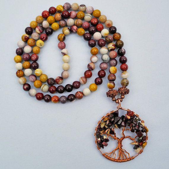 Mookaite 108 Stone Mala Necklace with Mookaite by beadonawiredotca, $55.00