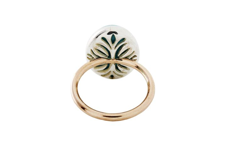 9ct Rose Gold and Silver, Larimar Gemstone Ring - 50% OFF!