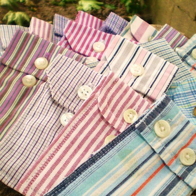 - Cute little pouches made from men's shirt cuffs