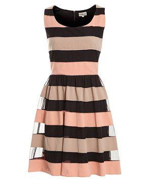 Black (Black) Deby Debo Black Multi Stripe Dress | 260602901 | New Look