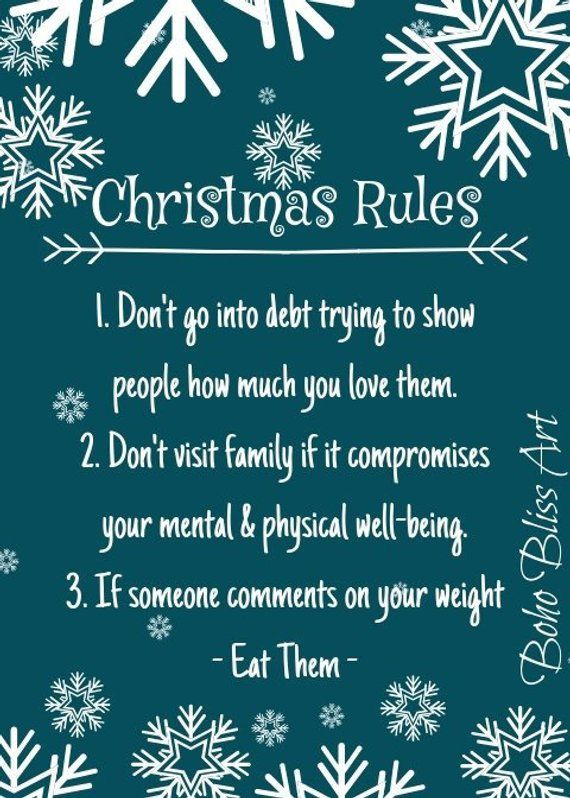 Christmas Rules Holiday Humor Wall Art Instant Download Etsy In 2020 Holiday Humor Holiday Quotes Diy Holiday Decor
