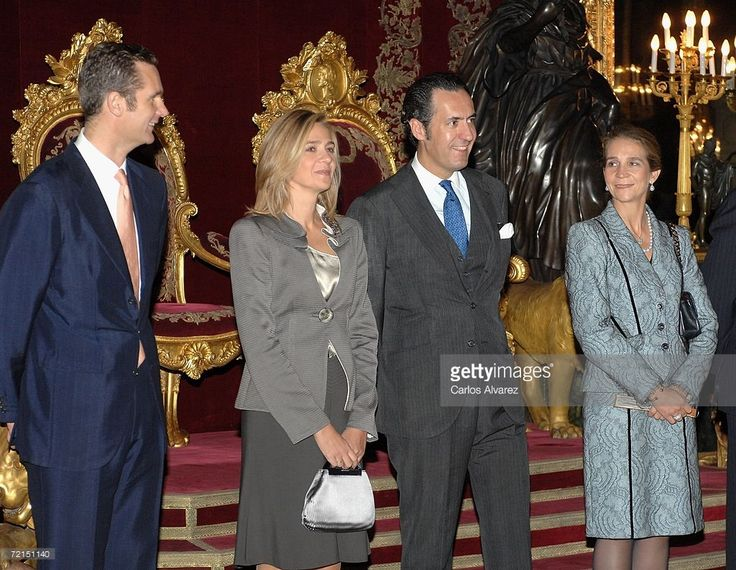 Spanish Royal Family members Inaki Urdangarin, Princess Cristina, Jaime de Marichalar and Princess Elena of Spain attend a reception for Spain's National Day on October 12, 2006 at the Royal Palace in Madrid. Spain. Spain's National Day (Dia de la Hispanidad) commemorates the discovery of America by Christopher Columbus in 1492.