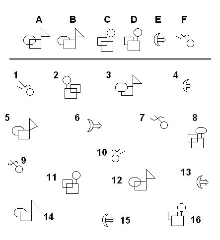 Visual discrimination: Find the matching shapes