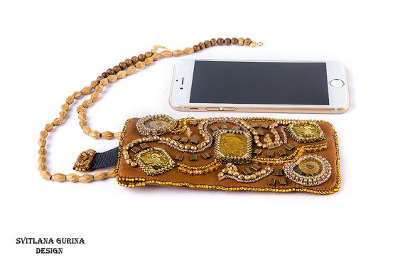 Embroidered iphone 6 case, brown phone case with Soviet vintage elements and ammonites, genuine leather Beaded Iphone 6 case  I have used