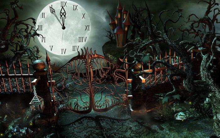der Mond ist eine Uhr, die Mitternacht zeigt   Halloween Hintergrund