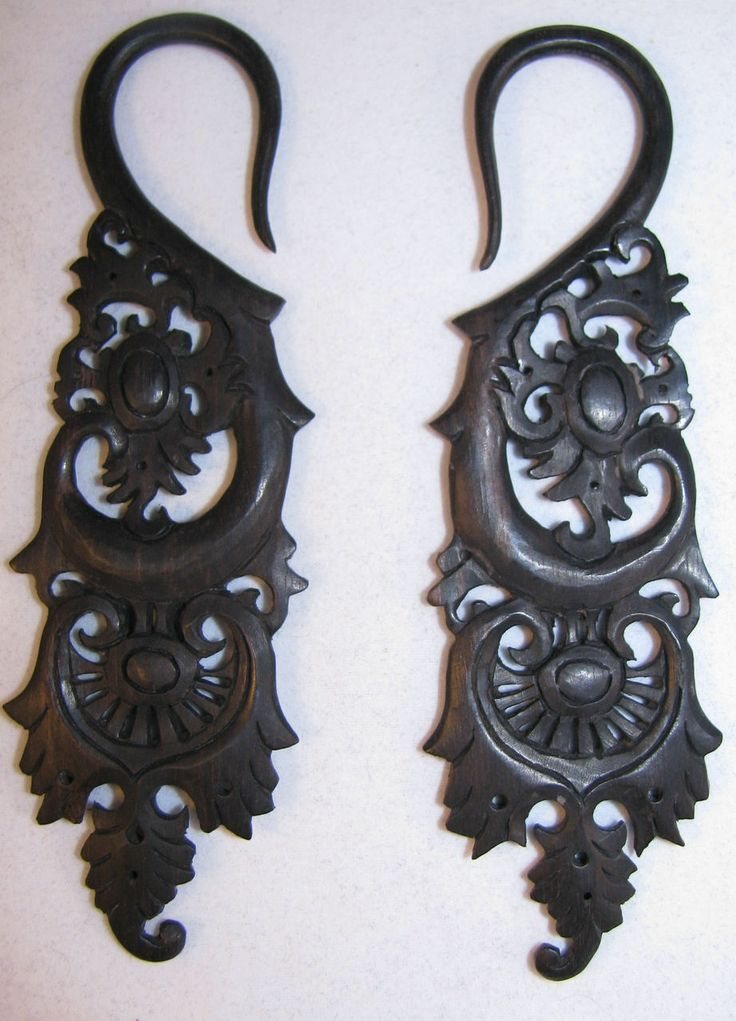Avaia Artistic Jewelry  - JADED detailed, carved, organic, areng wood, ear gauges - 6g,2g, 0g, 00g hanging plugs or spacers, $32.99 (http://www.avaiaartisticjewelry.com/jaded-detailed-carved-organic-areng-wood-ear-gauges-6g-2g-0g-00g-hanging-plugs-or-spacers/)