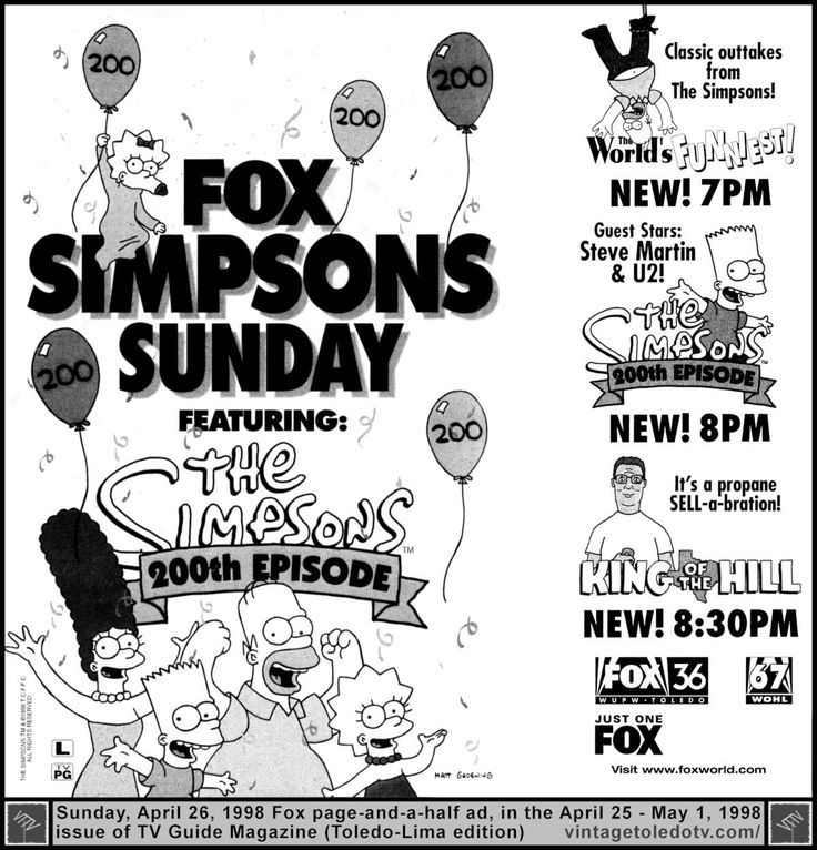 """Vintage Toledo TV - FOX - Fox Sunday night shows (4/26/98 page-and-a-half TV Guide ad) The World's Funniest, The Simpsons, """"Trash of the Titans"""" (200th episode) and King of the Hill, """"Junkie Business."""""""