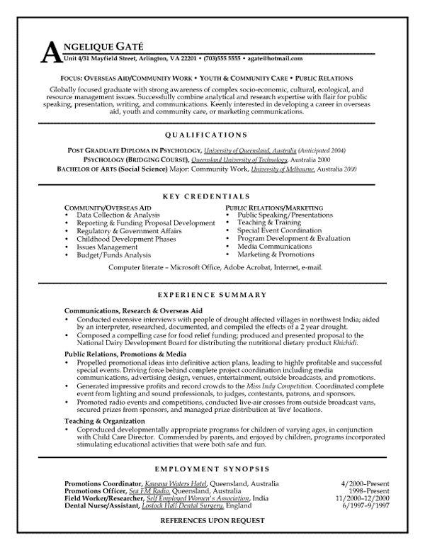 resume public relations
