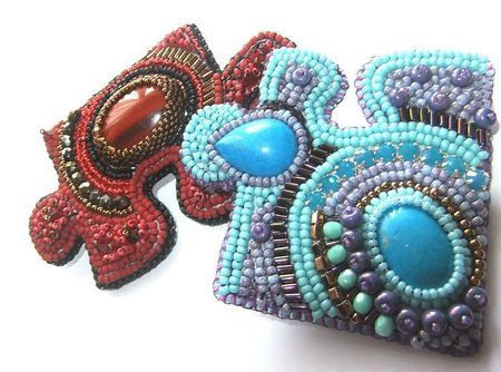 Beaded Puzzle Pieces. Add a brooch pin to the back ... or pierce small holes and shepards hooks to make earrings.