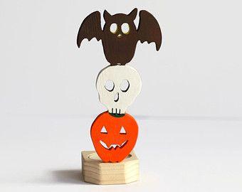 Supporto di candela di Halloween - legno animale Totem - gufo candela - Spooky Halloween Decor