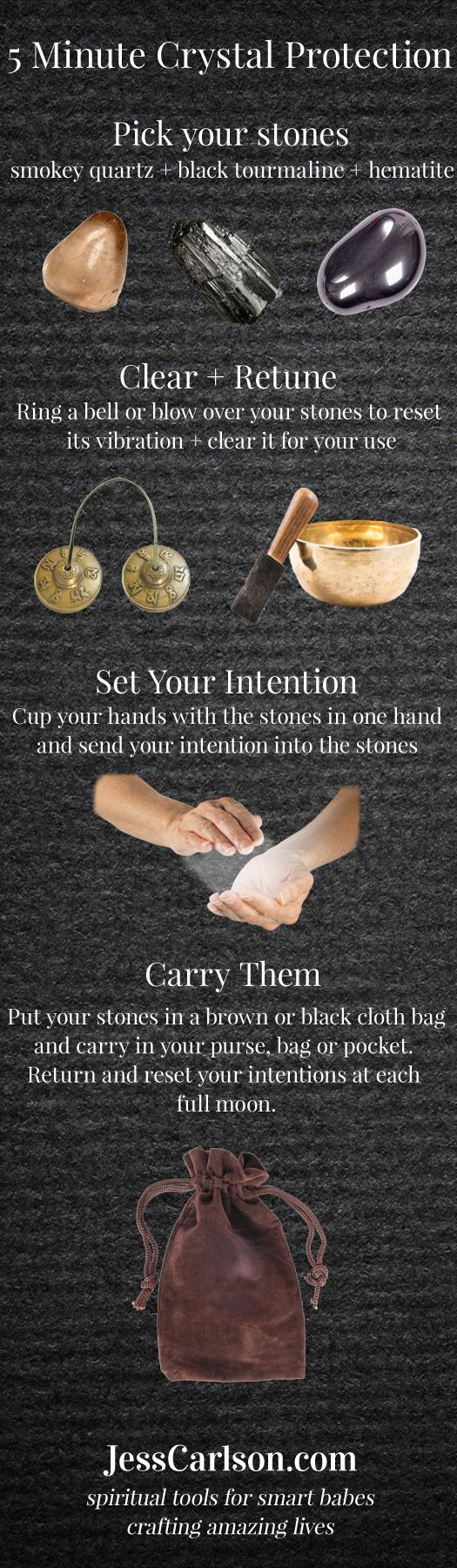 Here's some more 5 minute magic, this time for protection using crystals! || 5 Minute Crystal Protection - Jess Carlson: