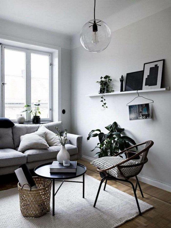 ejemplos de salones modernos pequeños y acogedores, paredes en gris, muebles modernos y funcionales y decoración de plantas verdes