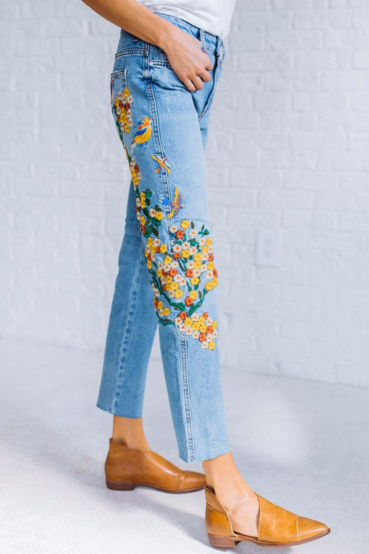 Embroidered Girlfriend Jean by Free People – cladandcloth