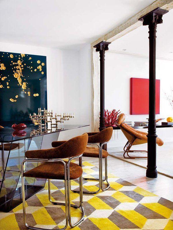 decoracion efecto industrial columna salon acero hierro - Buscar con Google