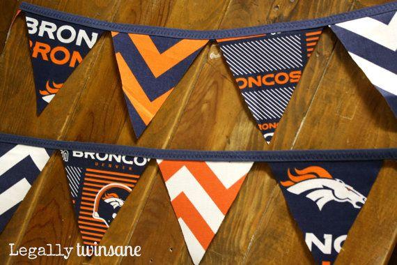 Fabric Bunting banner Denver Broncos football party nursery man cave  dorm picnic shower  birthday