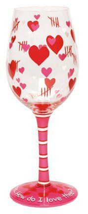 """RETIRED VALETINE LOLITA WINE GLASS - LET ME COUNT THE WAYS by LOLITA. $33.00. """"Love My Wine"""" by Lolita We are proud to present """"Love my Wine"""" wine glasses by Lolita. Each hand painted Lolita Wine Glass features a design inspired by a delicious wine cooler recipe, which is hand painted on the bottom of the glass! These glasses feature a universally popular shape that can be used for either white or red wines. Boasting an oversized 15 ounce capacity, this glass allows plenty ..."""