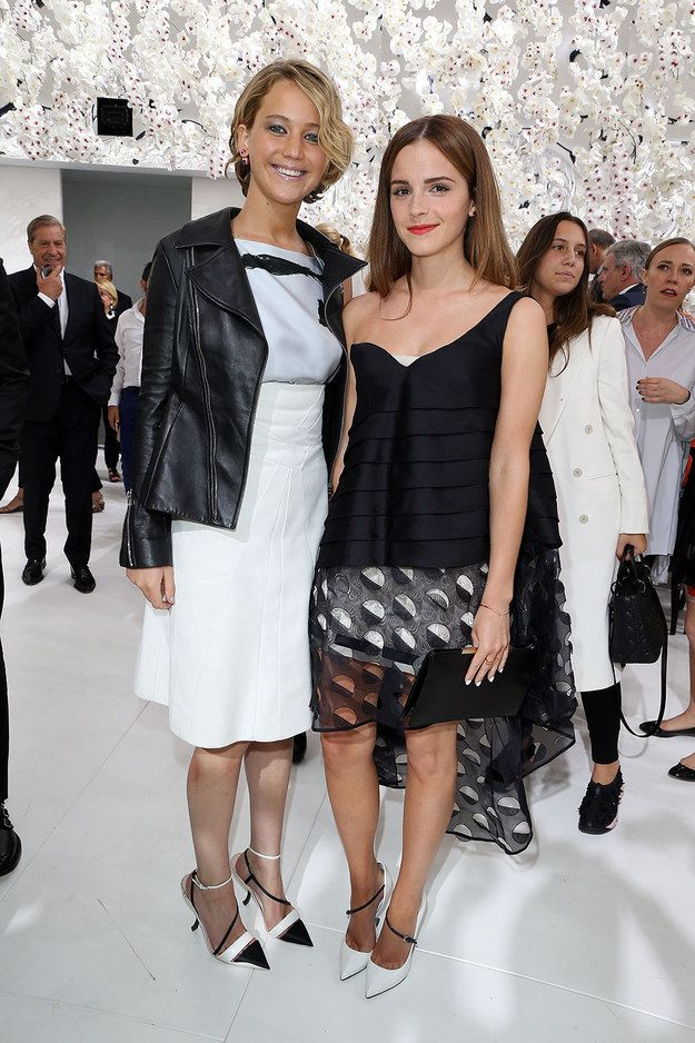THIS REALLY HAPPENED!!! Jennifer Lawrence and Emma Watson hung out at the Dior Fashion Show and it was EPIC!!!