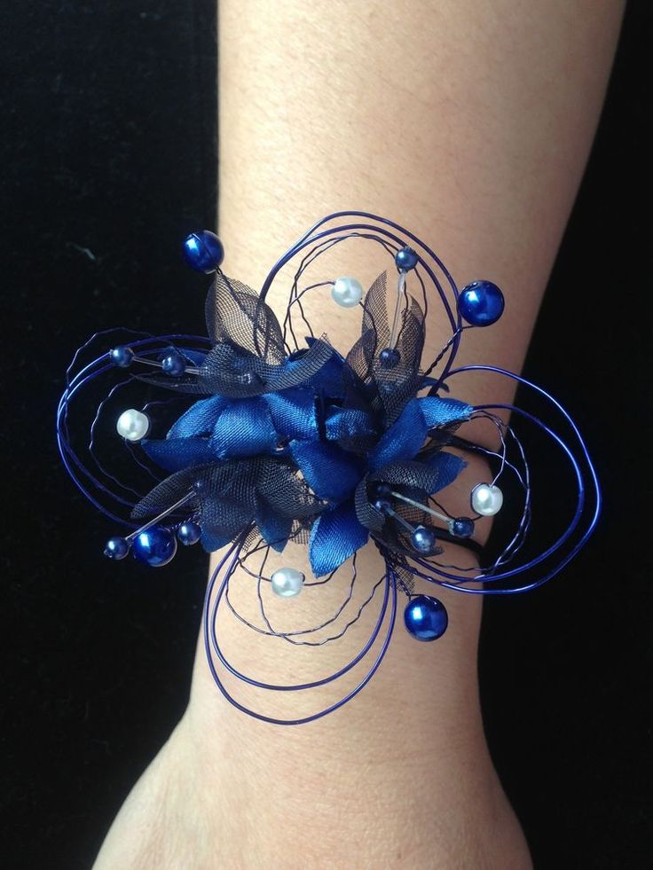 Unique Wedding Wrist Corsage In Navy Blue & Ivory Pearls  ( Made To Order )