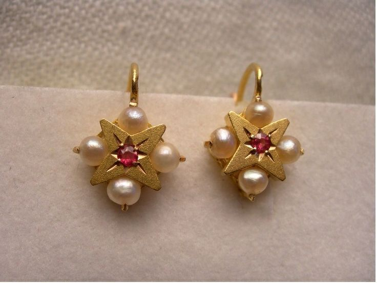 Enchanting Antique 18 carat Gold French Dormeuse Ruby Pearl Leverback Earrings.