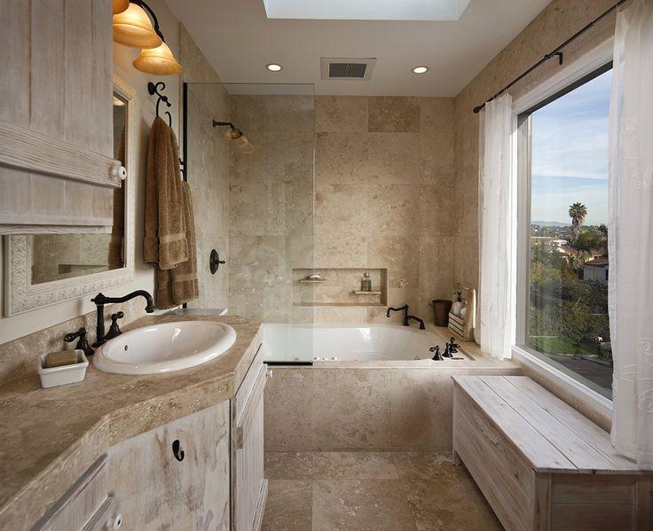travertine bathroom in Santa Barbara, California