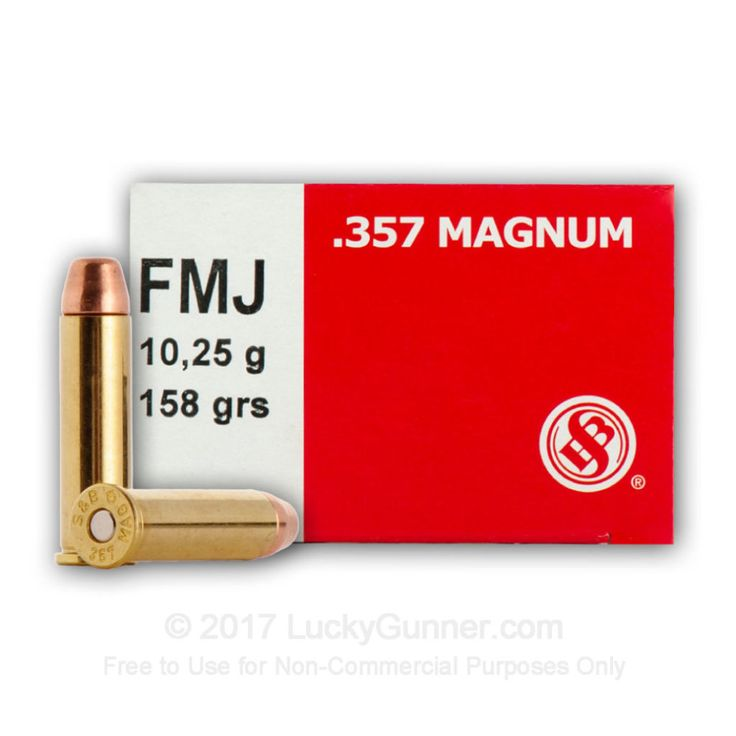 The Sellier & Bellot .357 Magnum 158 Grain FMJ is an excellent round.  It shoots a 158 Grain FMJ bullet at a muzzle velocity of 1263 fps.  It is excellent for target or as a training bullet.