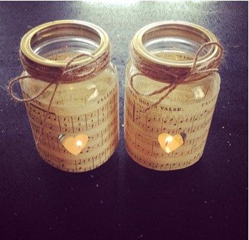 Tea Light Holders x 2, Jam Jar Candle Holders, Vintage Music Paper and Twine, Wedding Favours, Rustic Wedding Decorations