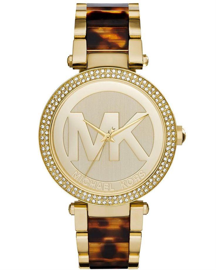 MICHAEL KORS Parker Gold Tortoise & Stainless Steel Bracelet - oroloi.gr