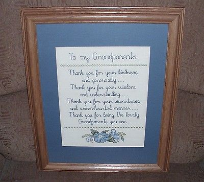 Wood Framed Completed Cross Stitch Art Wall Picture To My Grandparents 16 X 13