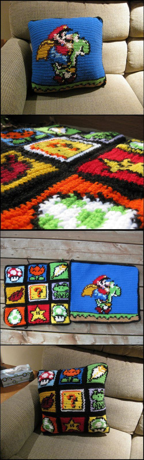 Rtakeshi Crocheted This Awesome Doublesided Pillow It's For Sale If  You Can Afford It! :) Via[deviantart]