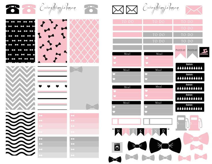 Free Printable Download: Pink and Grey. Made to use with the Happy Planner…