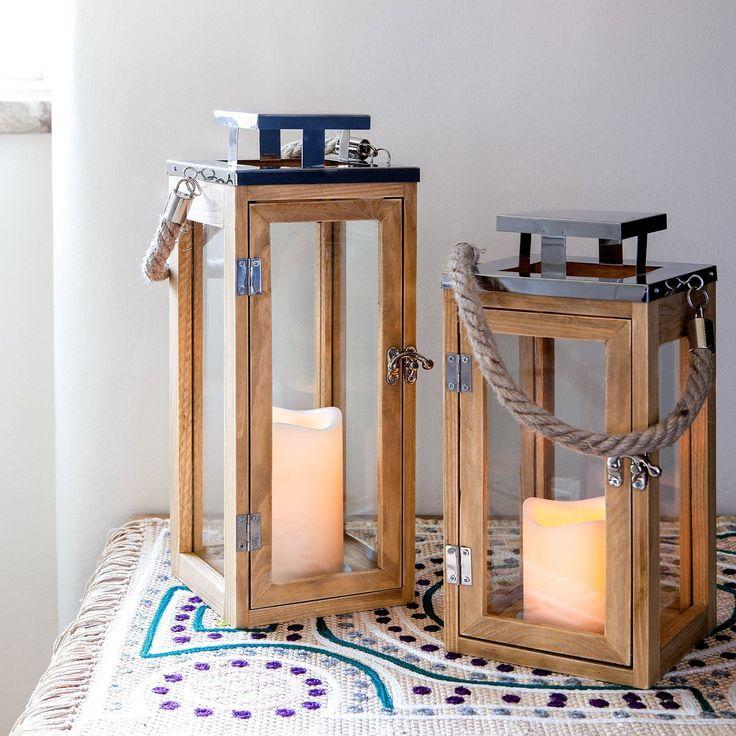 Lanterna in legno con candela LED a pile e manico di corda - Grande di…