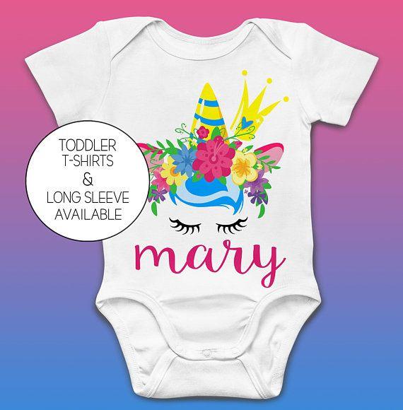 Personalized Childrens Unicorn Custom Birthday T Shirt